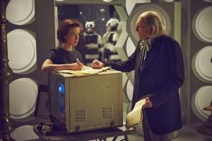 Jessica Raine and David Bradley as Verity Lambert and William Hartnell (Doctor Who)