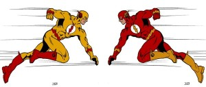 Professor Zoom and the Flash running at each other