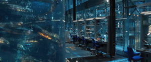 Electric eels swim around a tank in a science lab