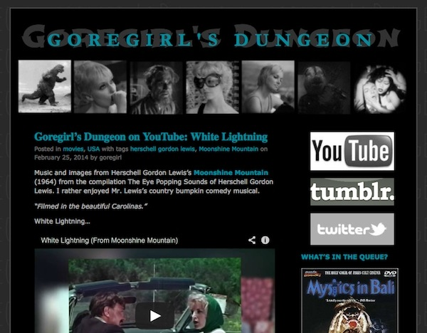 Screen grab of the home page for the cult movie website Goregirl's Dungeon