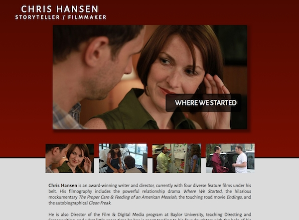 Homepage for filmmaker Chris Hansen featuring his film Where We Started