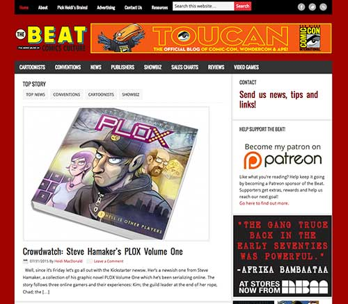 Screengrab of the Homepage for The Beat