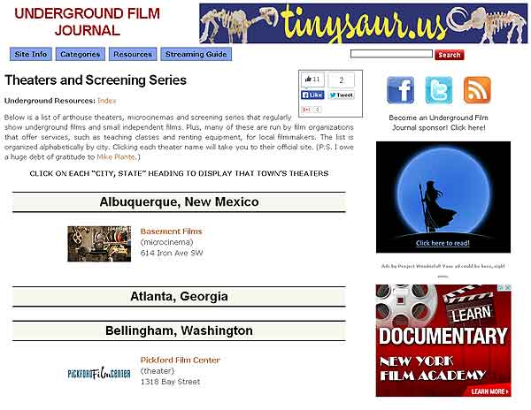 Screengrab of the Theaters and Screening Series page on the Underground Film Journal